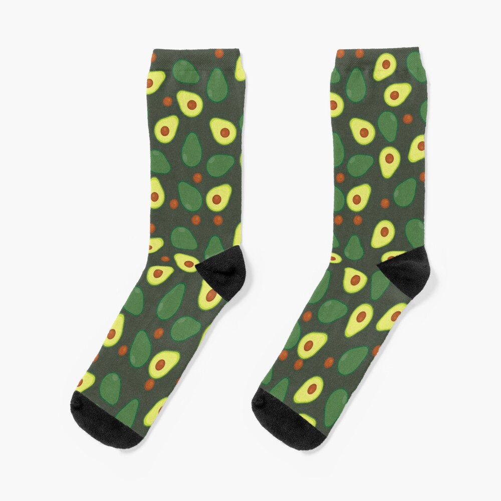 Olive Green and Yellow Avocado Food Pattern Socks
