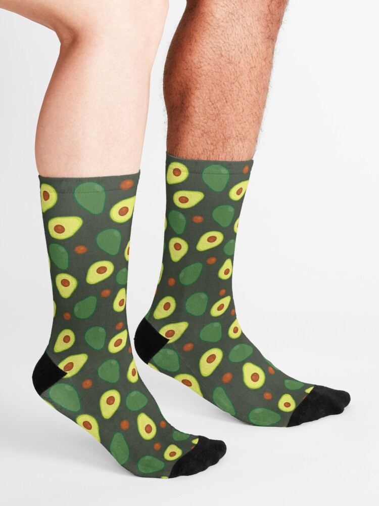 Alternate view of Olive Green and Yellow Avocado Food Pattern Socks