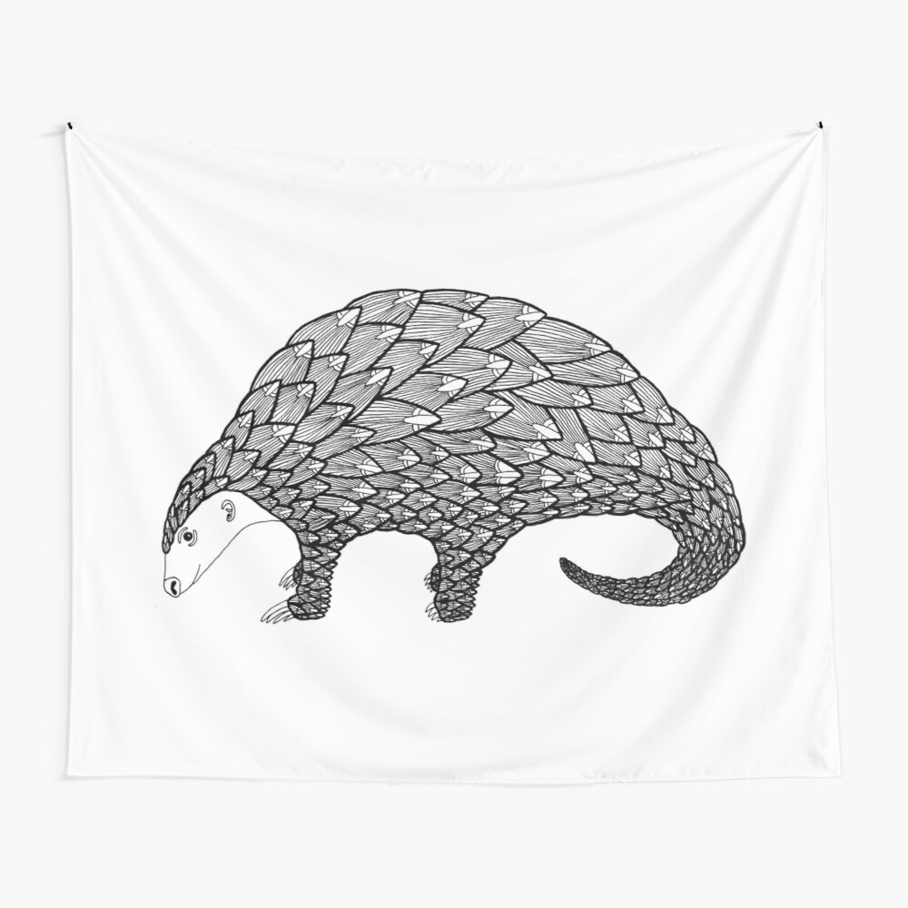 Pangolin (ink illustrations of weird animals that are real) Wall Tapestry