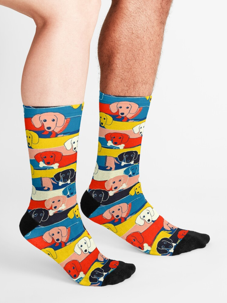 Alternate view of COLORED CUTE DOGS PATTERN 2 Socks
