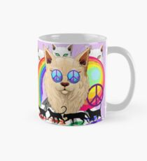 'Imagine' Cat Rainbow Peace and Love Classic Mug