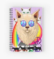 'Imagine' Cat Rainbow Peace and Love Spiral Notebook