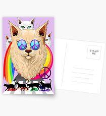 'Imagine' Cat Rainbow Peace and Love Postcards