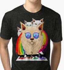 'Imagine' Cat Rainbow Peace and Love Tri-blend T-Shirt