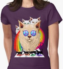 'Imagine' Cat Rainbow Peace and Love Fitted T-Shirt