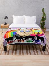 'Imagine' Cat Rainbow Peace and Love Throw Blanket
