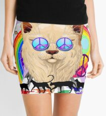 'Imagine' Cat Rainbow Peace and Love Mini Skirt