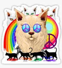'Imagine' Cat Rainbow Peace and Love Sticker