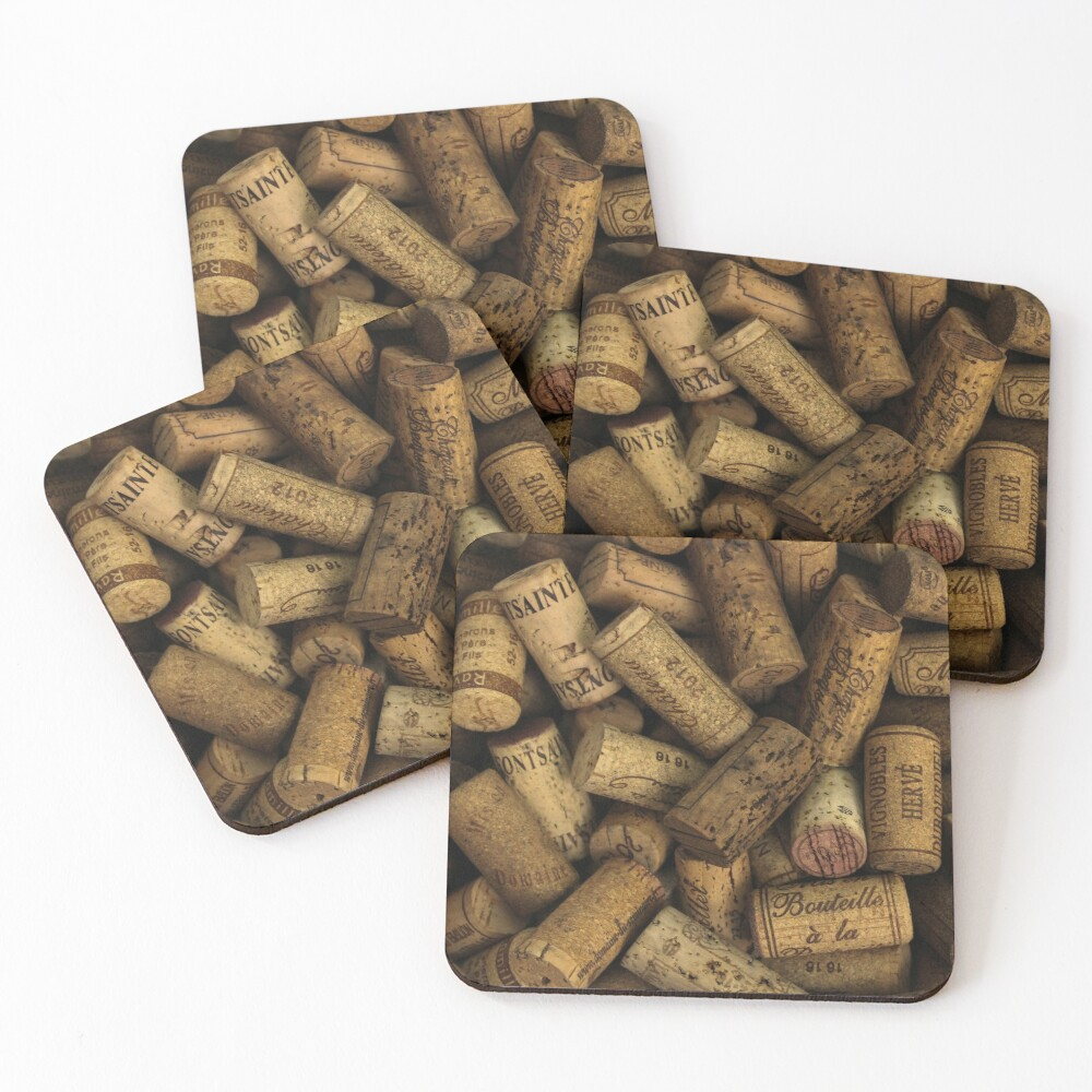 Wine Bottle Corks Background Texture Coasters (Set of 4)