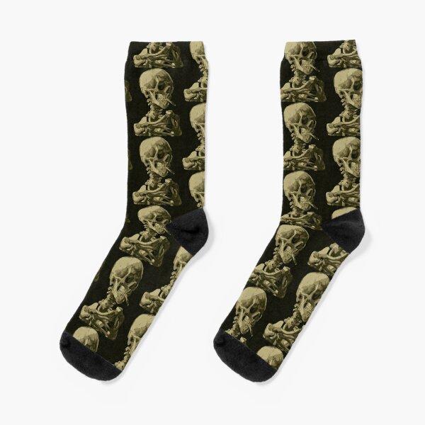 Smoking Skeleton by Vincent van Gogh Socks