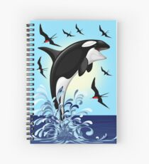 Orca Killer Whale jumping Spiral Notebook