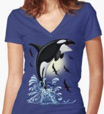 Orca Killer Whale jumping Fitted V-Neck T-Shirt