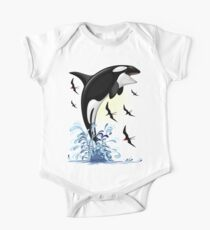 Orca Killer Whale jumping Short Sleeve Baby One-Piece