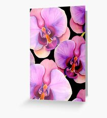Watercolour orchid on black Greeting Card