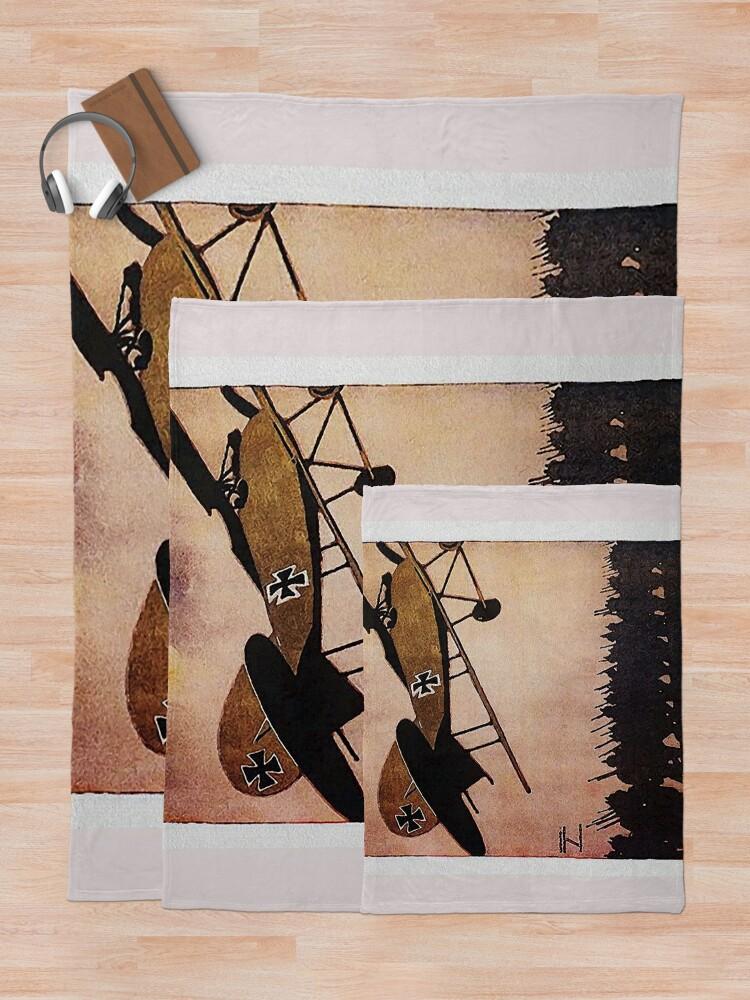 Alternate view of Albatros Biplane.. WWI German Aircraft Advertisement Throw Blanket