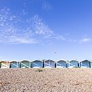 Pastel blue beach huts, West Sussex by Zoe Power
