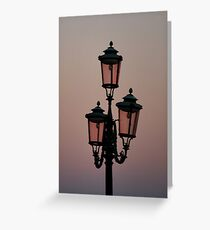 Rose coloured lanterns Venice. Greeting Card