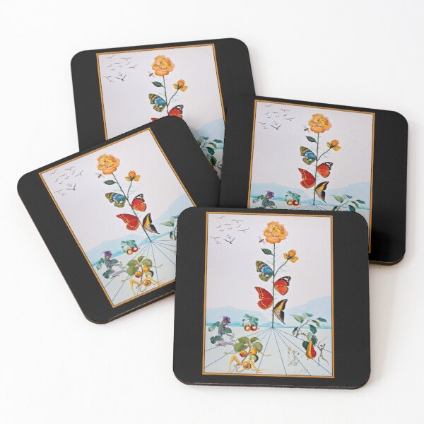 BUTTERFLY ROSE : Vintage Abstract Dali Painting Print Coasters (Set of 4)