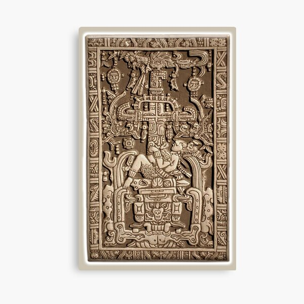 Ancient Astronaut, Pakal, Maya, sarcophagus lid. Canvas Print