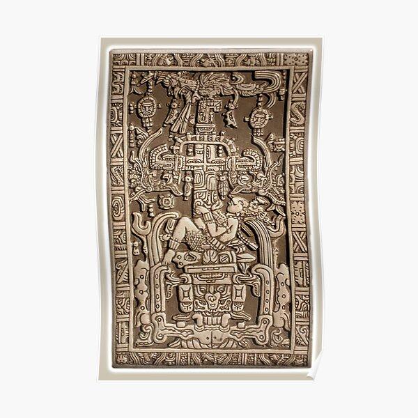 Ancient Astronaut. Pakal, Maya, sarcophagus lid. Poster