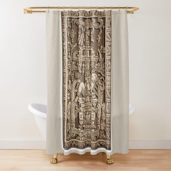 Ancient Astronaut. Pakal, Maya, sarcophagus lid. Shower Curtain