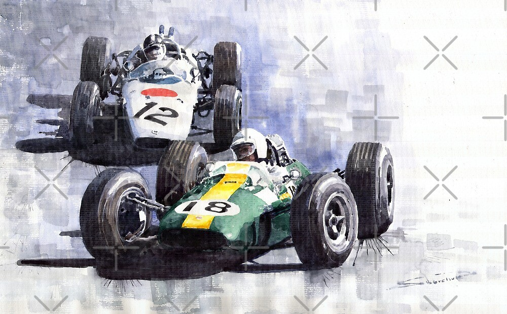 Lotus vs Honda Mexican GP 1965 by Yuriy Shevchuk