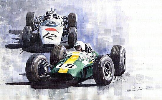 Lotus vs Honda Mexican GP 1965 by Yuriy Shevchuk