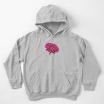 Zinnial - Large Hot Pink Graphic Zinnia Flower - Gift for Flower Lovers - Floral Decor Kids Pullover Hoodie