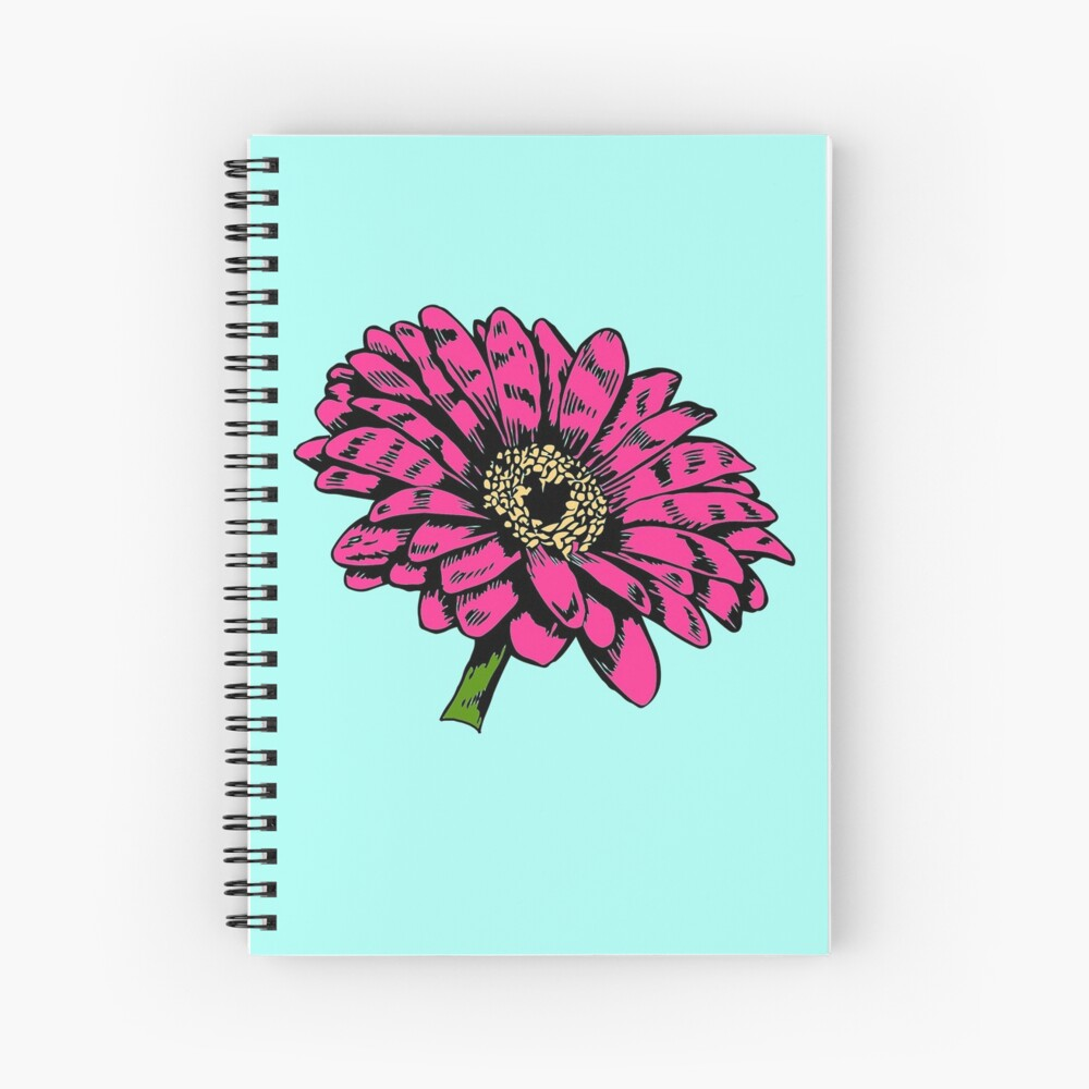 Zinnial - Large Hot Pink Graphic Zinnia Flower - Gift for Flower Lovers - Floral Decor Spiral Notebook