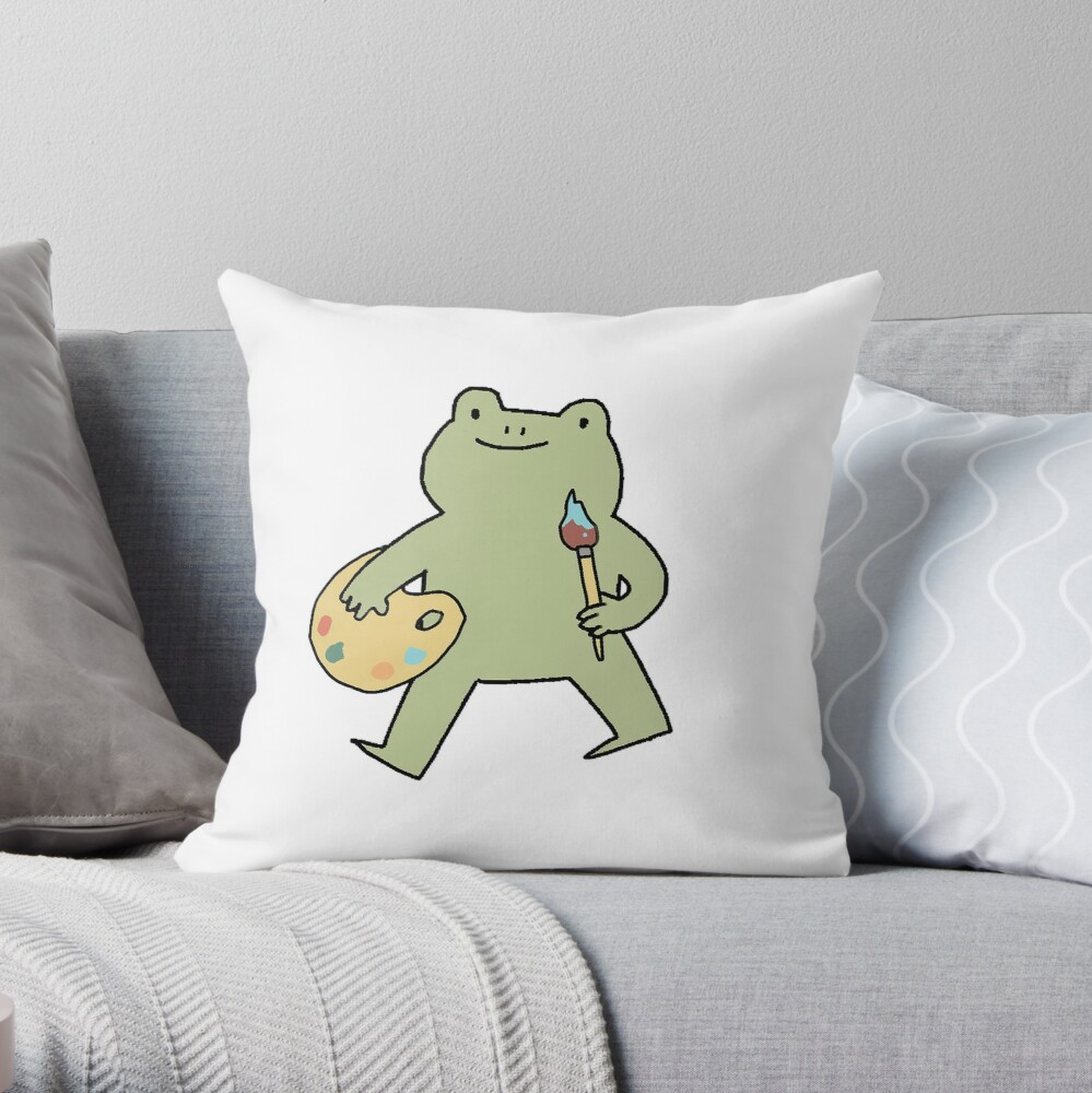 Frog Artist Throw Pillow By Peachy Doodle Redbubble
