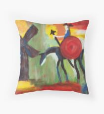 Don Quijote and the Windmill Throw Pillow