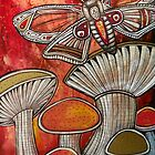 Moth and Mushrooms by Lynnette Shelley