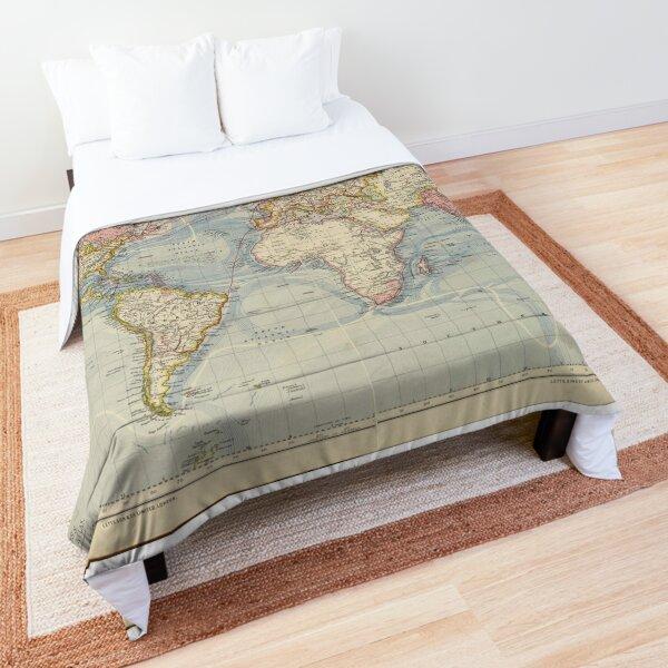 Blue Vintage Historical World Map Comforter