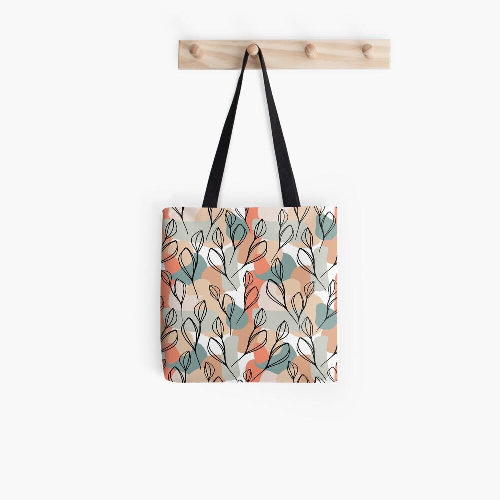 Schwarzblätter und Pastellhintergrund Stofftasche