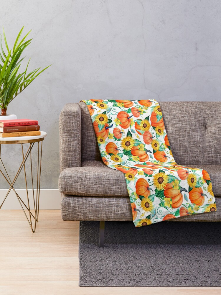 Alternate view of Pumpkin and Sunflower watercolor with moths Throw Blanket