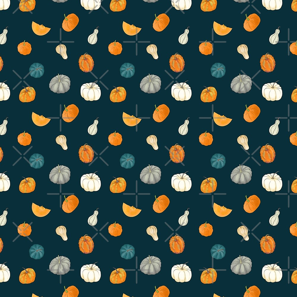 Halloween Pumpkins and Gourds - dark teal palette by Andreea Dumez
