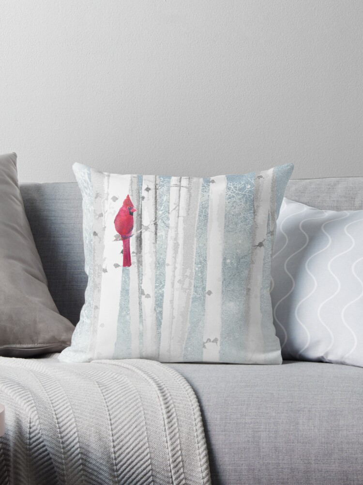 Watercolor Red Cardinal Bird Winter Birch Forest Throw Pillow By Countrymouse Redbubble