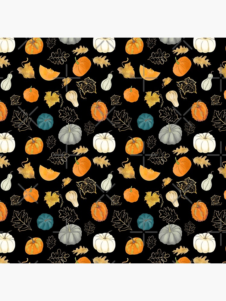 Halloween Pumpkins and Gold Leaf Pattern by andreeadumez