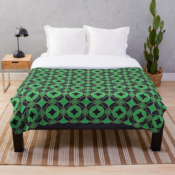 art deco  motifs in green&black Throw Blanket