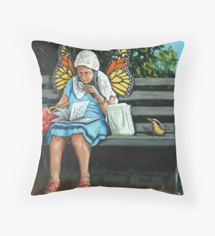 Just Visiting  - painting Throw Pillow