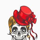 Menschlicher Schädel im roten Mode-Hut. Vektor-illustration von devaleta