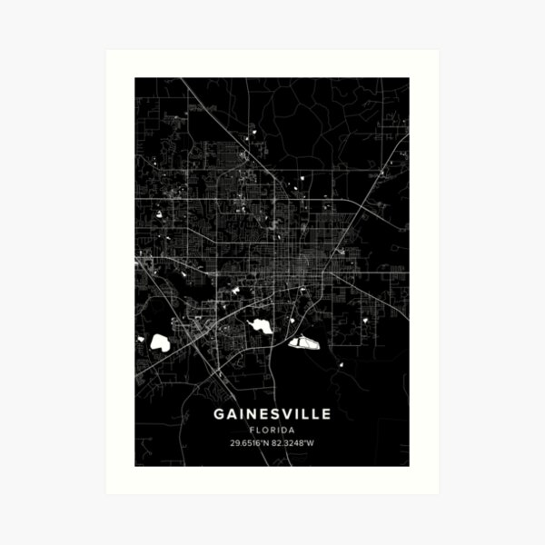 Gainesville Map Art Print