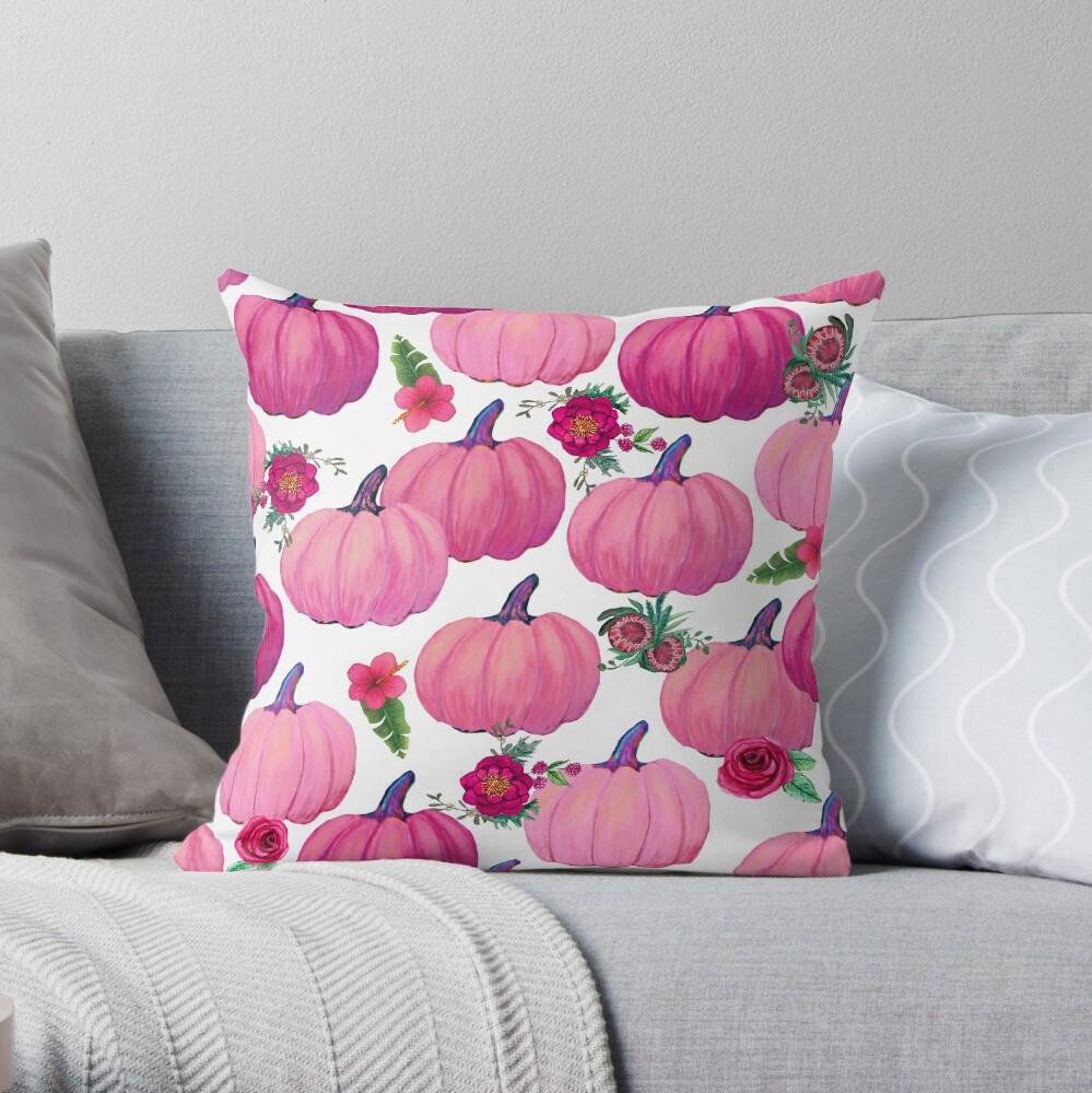 Pink Pumpkin, Fall Delight Throw Pillow