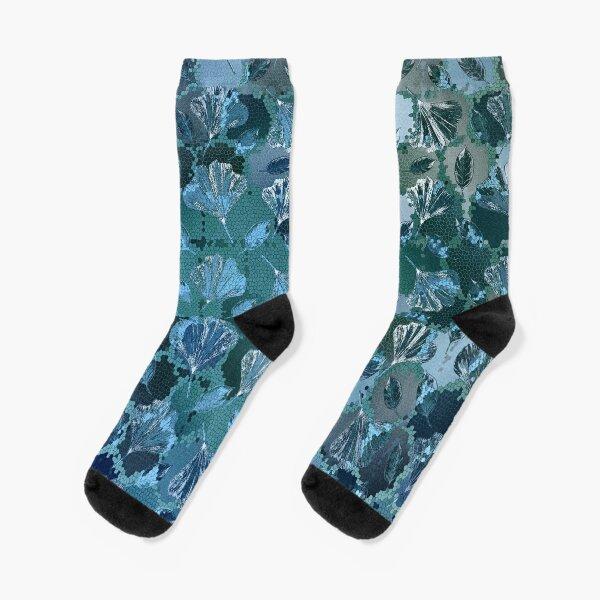 Mosaic Ginkgo (Sapphire Blue) Socks