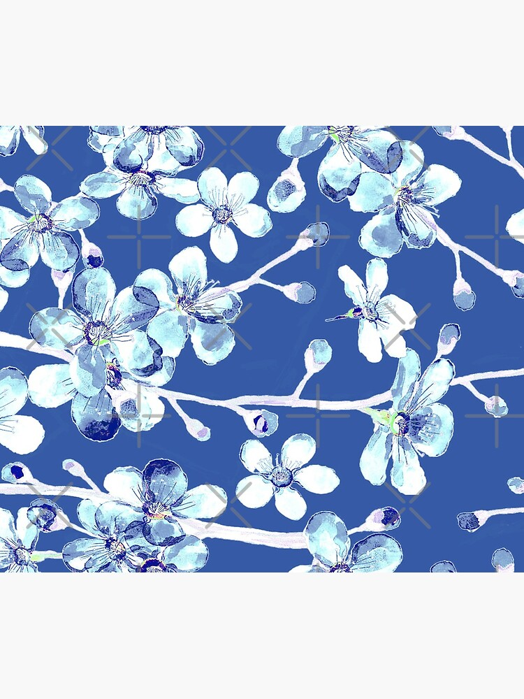 blue and white cherry blossom, Chinoiserie, Hamptons Style interiors. by MagentaRose