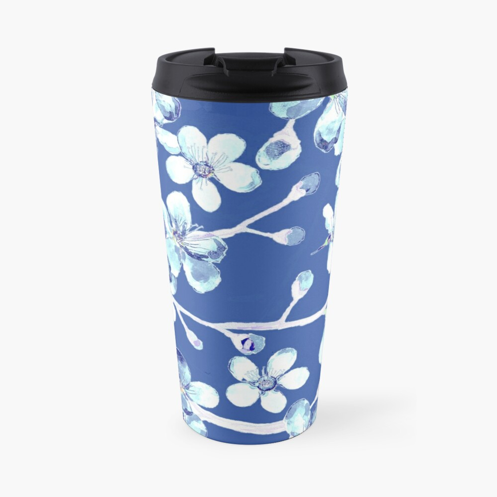 blue and white cherry blossom, Chinoiserie, Hamptons Style interiors. Travel Mug