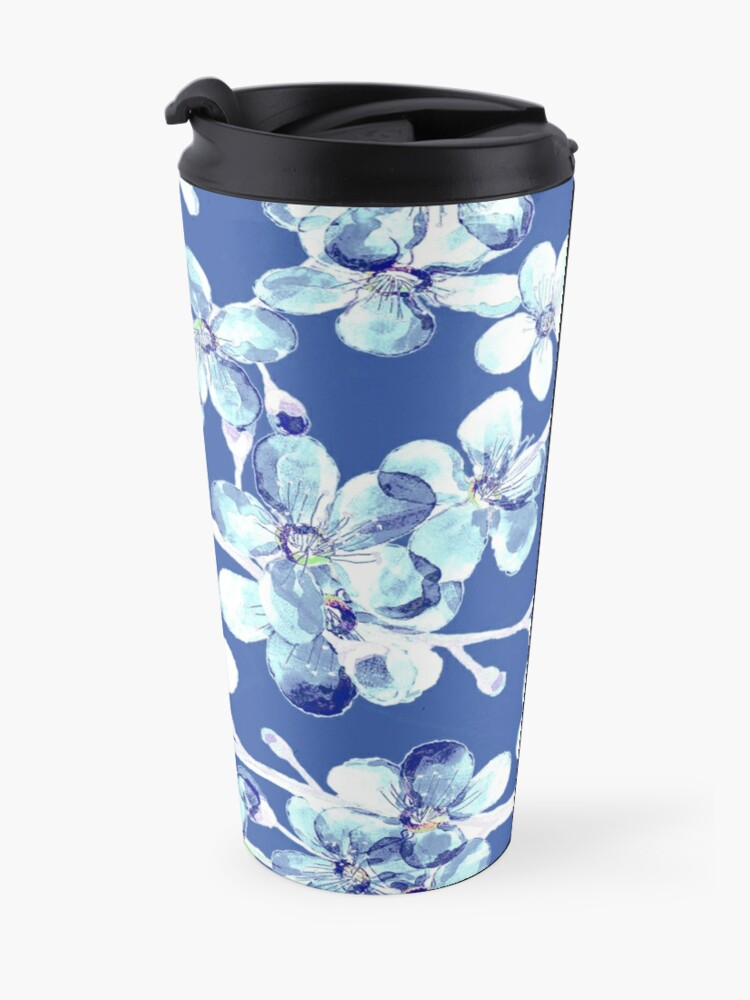 Alternate view of blue and white cherry blossom, Chinoiserie, Hamptons Style interiors. Travel Mug