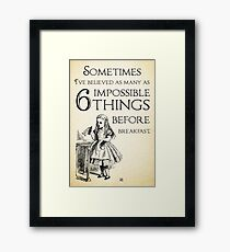 Alice in Wonderland Quote - Six Impossible Things - Lewis Carroll - 0111 Framed Print