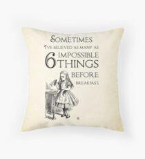 Alice im Wunderland-Zitat - sechs unmögliche Dinge - Lewis Carroll - 0111 Dekokissen