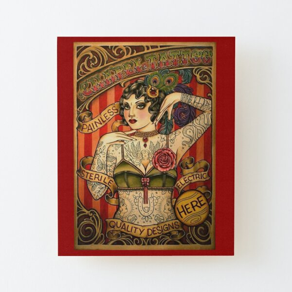 CHAPEL TATTOO; Vintage Body Advertising Art Wood Mounted Print